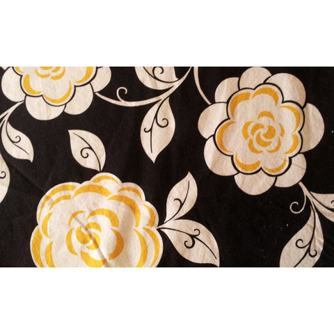 Black and Yellow Flower Cotton Fabric