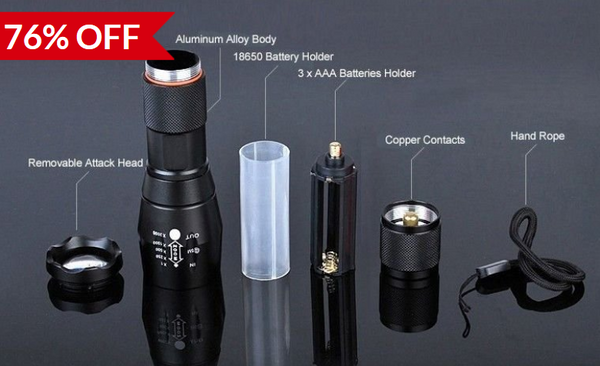 LED Flashlight 2000 Lumen Tactical Waterproof Zoomable Powerful XML T6 Lamp Camping Torch By 18650 Rechargeable Battery