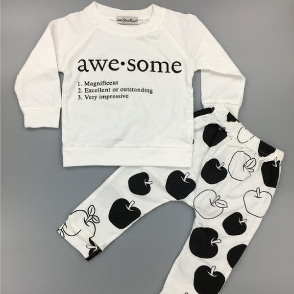 2-pc Long Sleeve Top & Pants Set Awesome Theme- Baby Boys newborn-24m - 123 Express Shop - 4