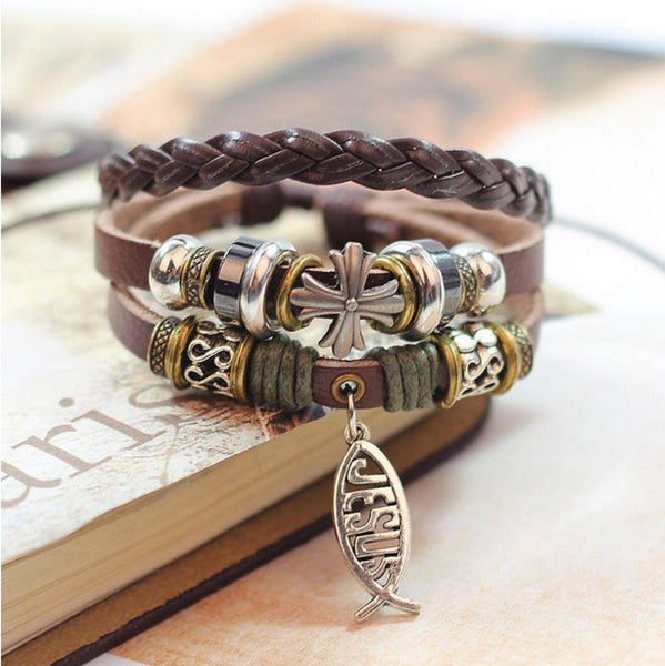 Jesus Leather Bracelet [Free Shipping] - 123 Express Shop - 1