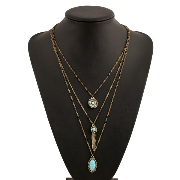 Multilayer Retro Bohemian Feather Long Necklace - 123 Express Shop - 2