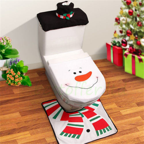 Christmas Toilet Seat Cover Bathroom Rug Set