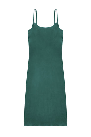 Bottle Green Long Slip Dress - Asceno London