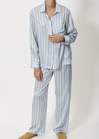SKY STRIPE SILK PYJAMAS
