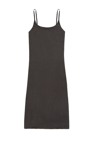 Jet Black Long Slip Dress - Asceno London