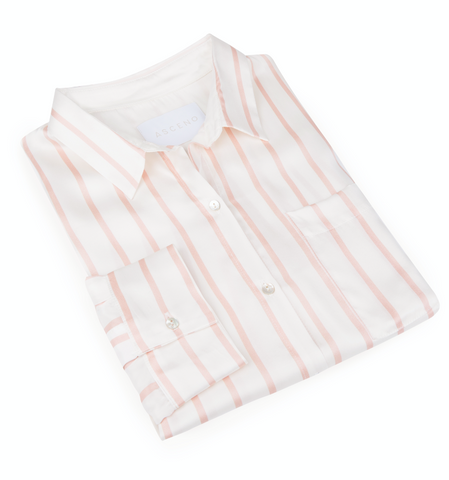 ASCENO STRIPE SILK PYJAMAS