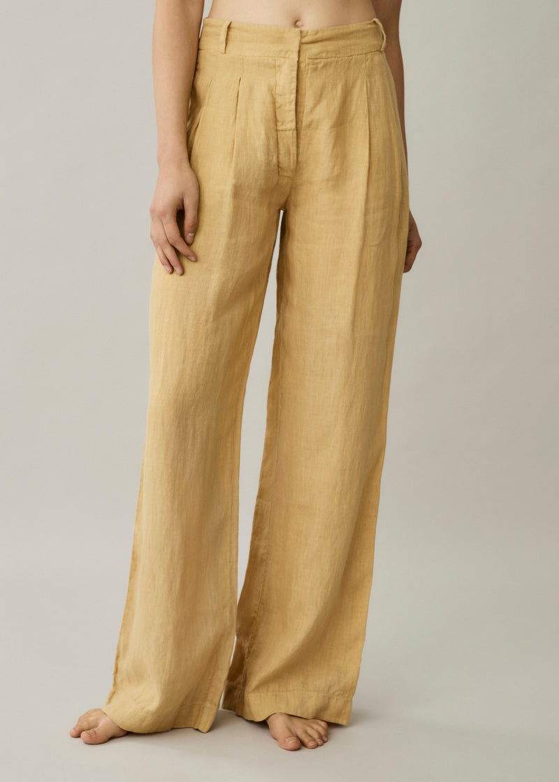 Rivello Antique Gold Linen Wide Leg Trouser