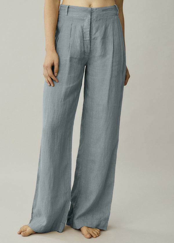 Light blue linen wide leg trousers