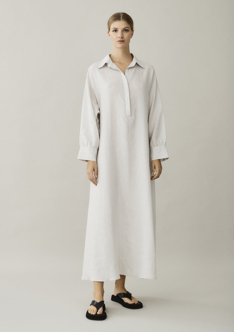 off white linen shirt dress