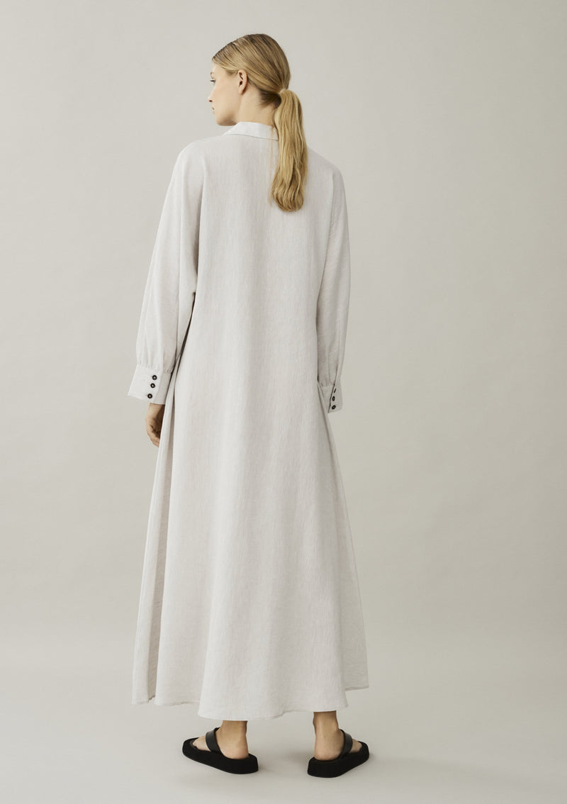 off white linen shirt dress back