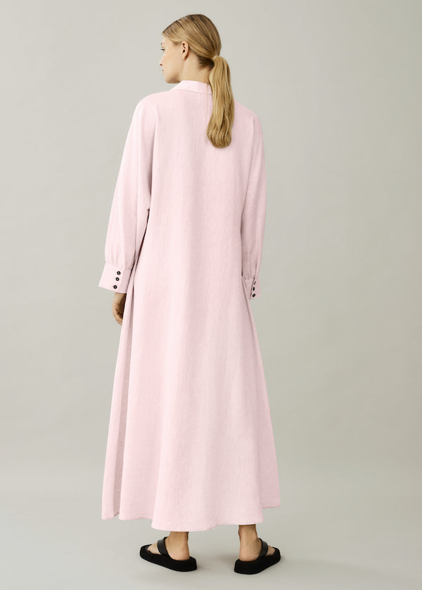 Light pink linen shirt dress with removable belt
