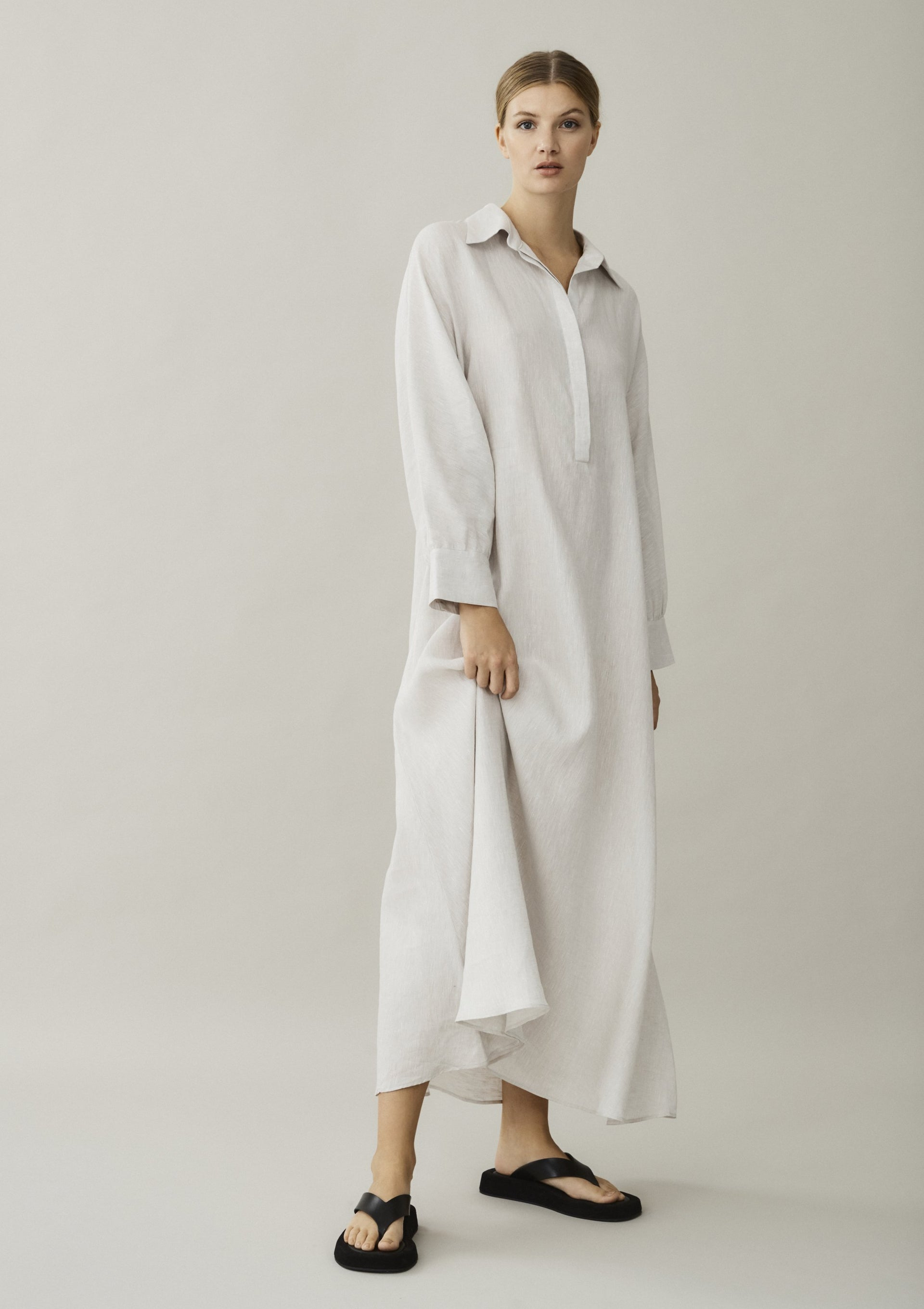 off white linen shirt dress maxi length