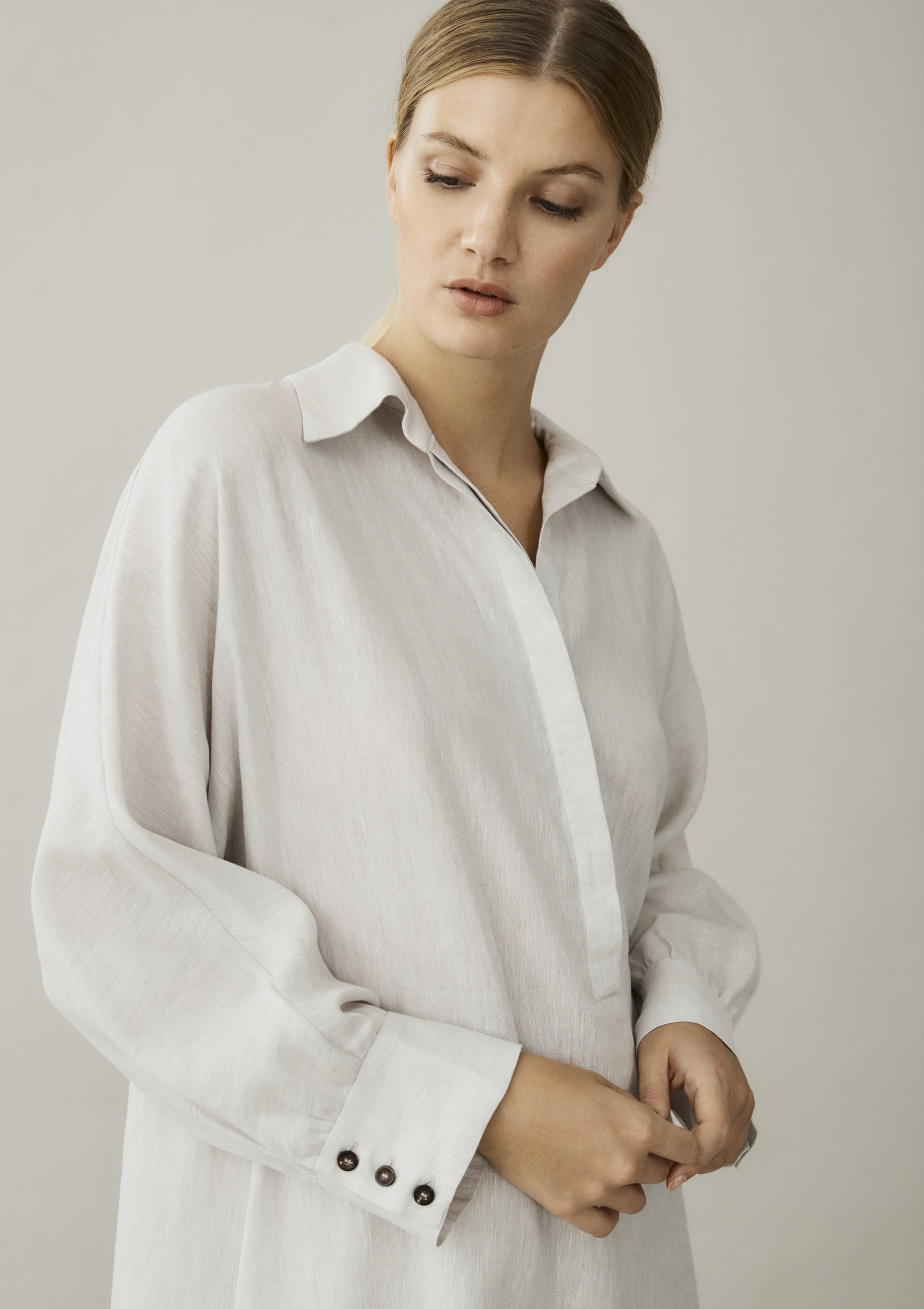 off white linen shirt dress button cuffs