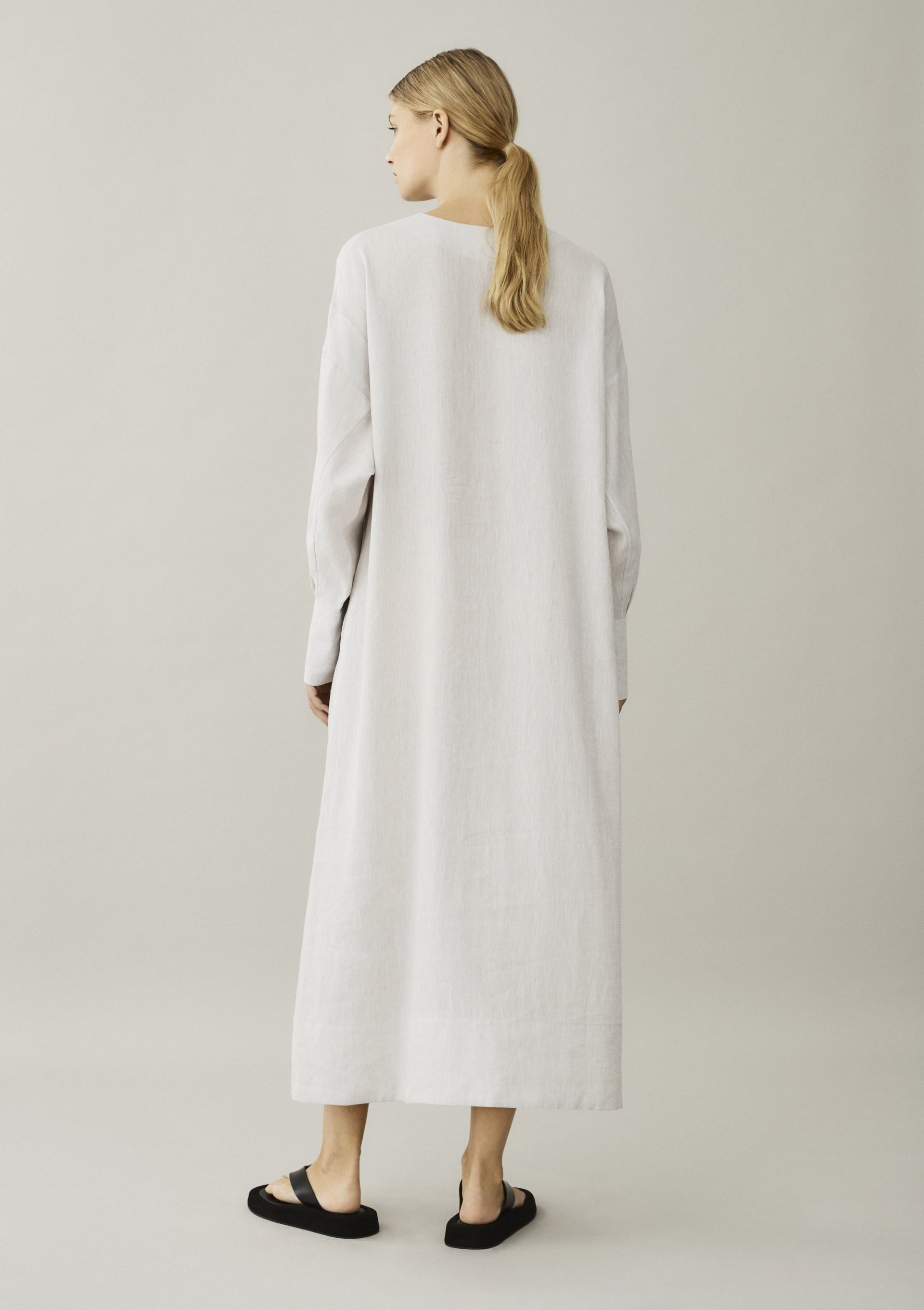 off white linen shirt dress back view