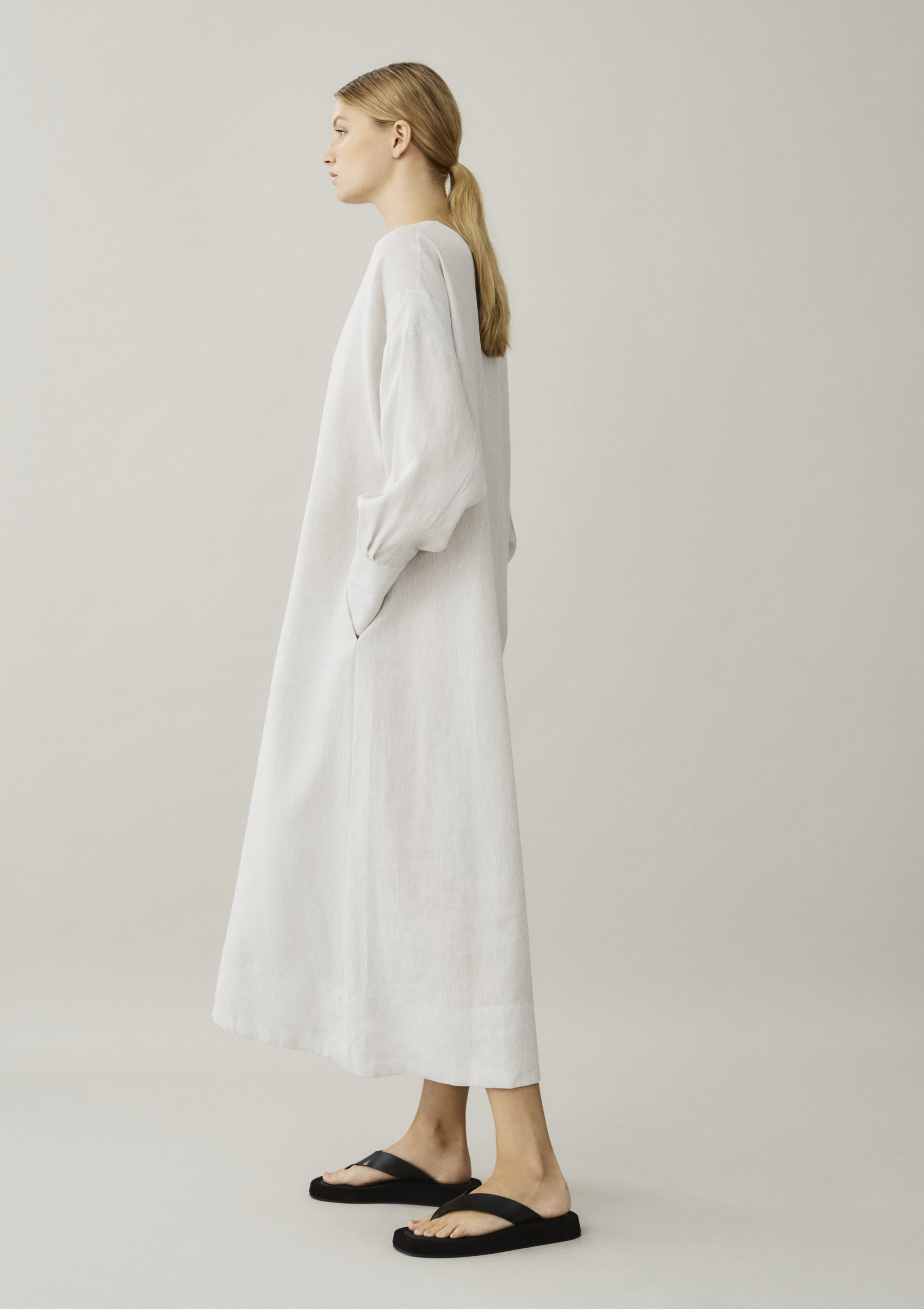 off white linen shirt dress with pockets