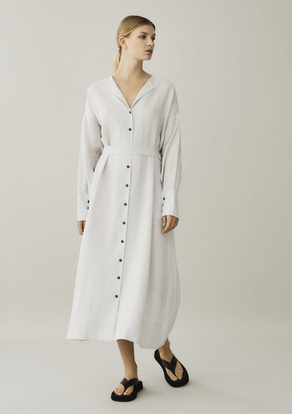 off white linen shirt dress showing optional tie belt