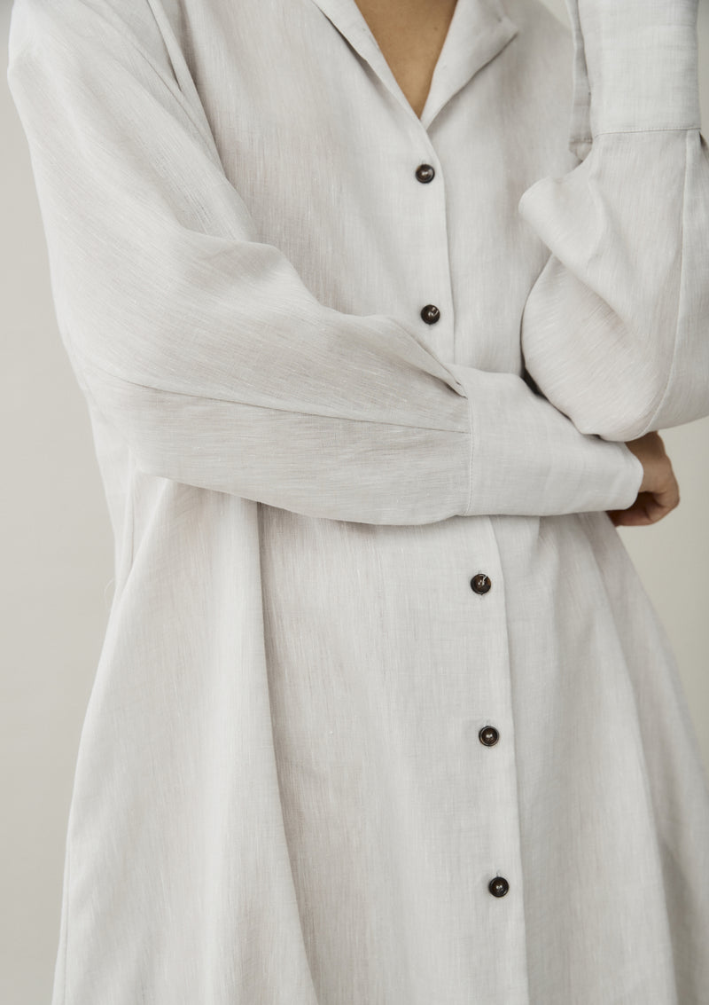 off white linen shirt dress with buttons