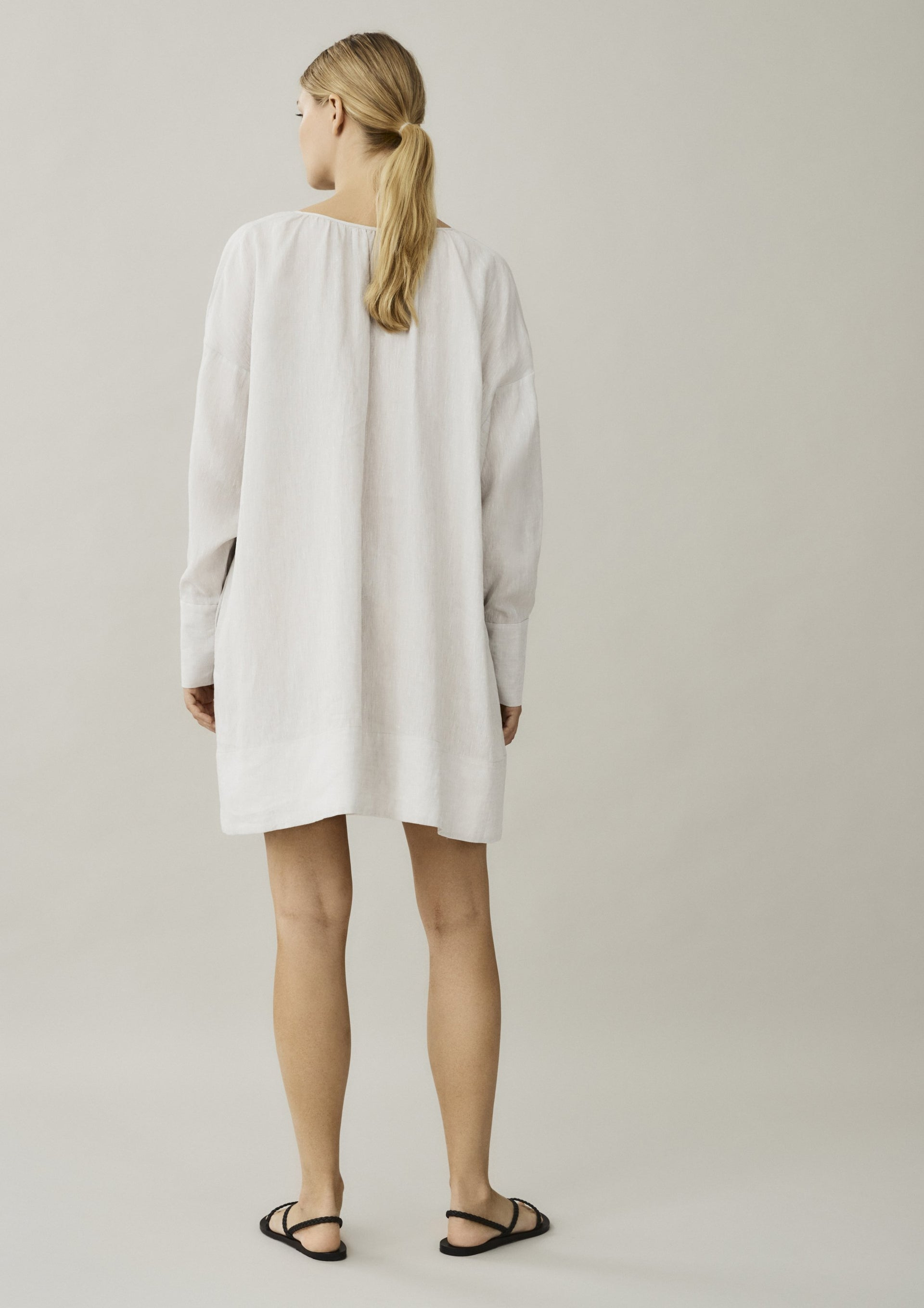 off white short linen dress with long sleeves