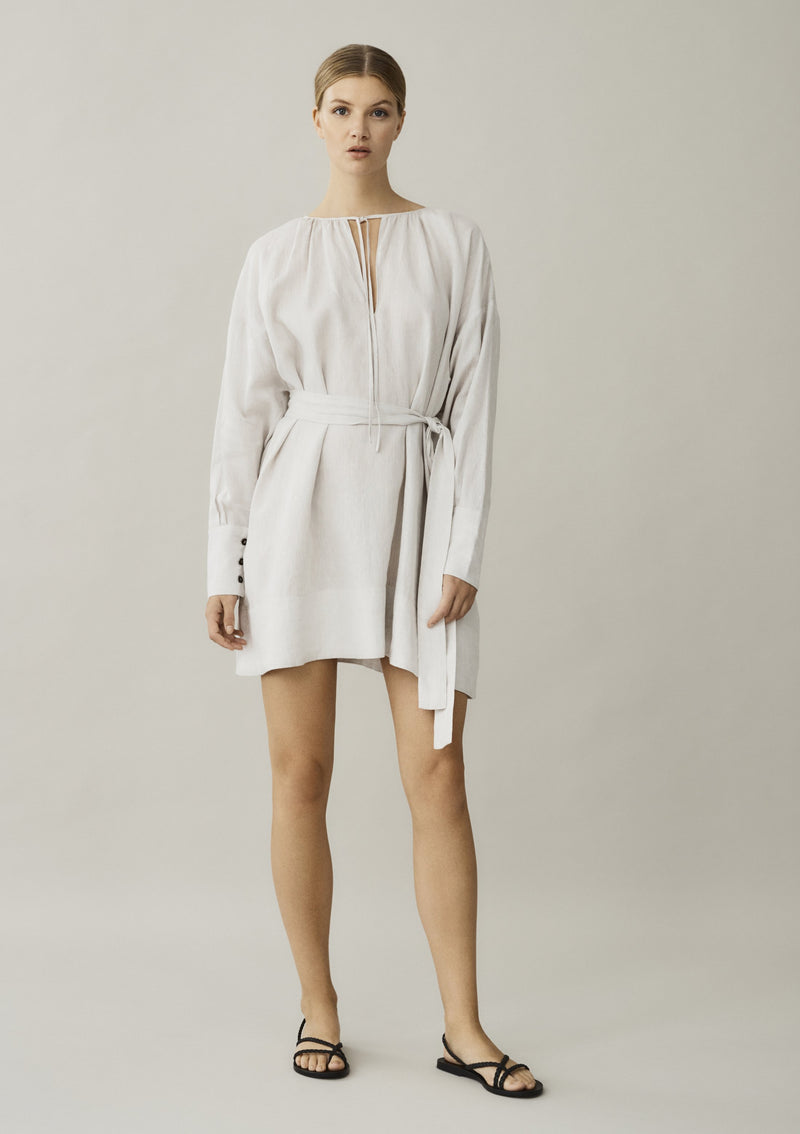 short linen dress with removable tie belt