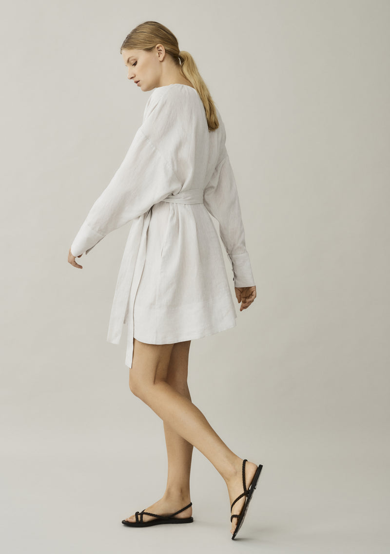 off white linen dress