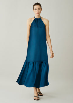 Blue high neck tie silk maxi dress