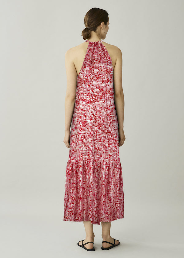Red printed high neck tie silk maxi dress