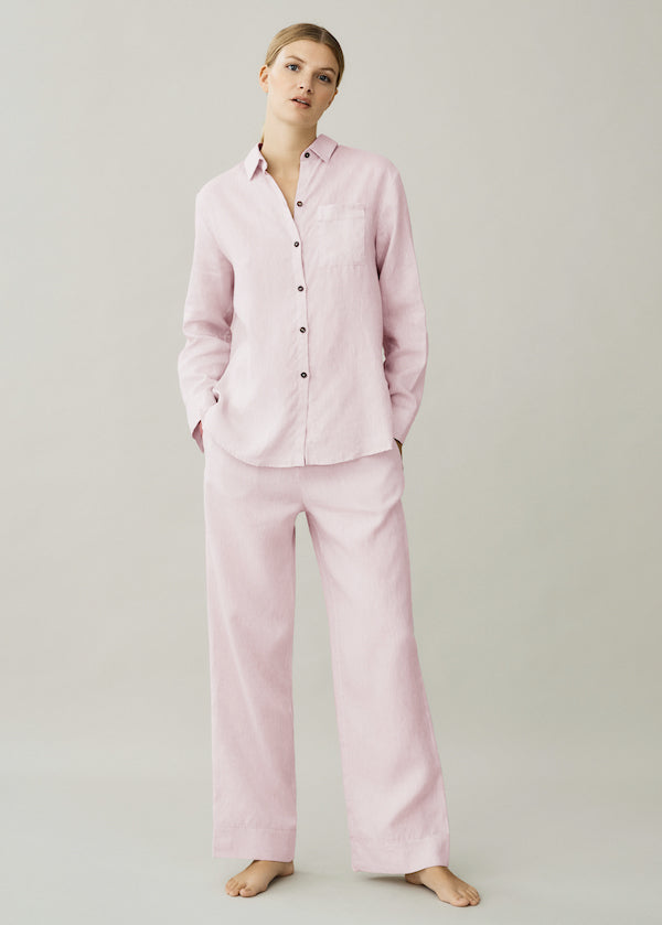 Light pink linen straight leg trouser