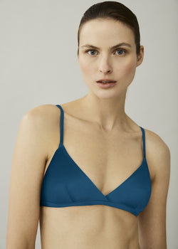 Blue triangle bikini top with thin straps