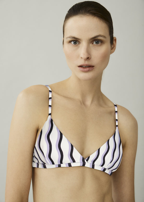 purple and black print triangle bikini top with skinny straps