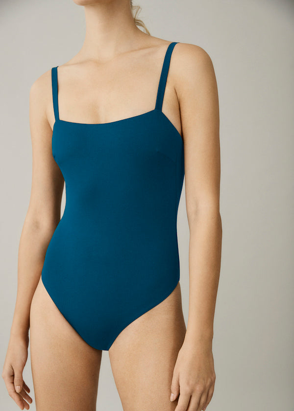 Blue low scoop back double lined swimsuit
