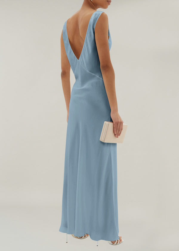 Light blue silk bias cut slip dress