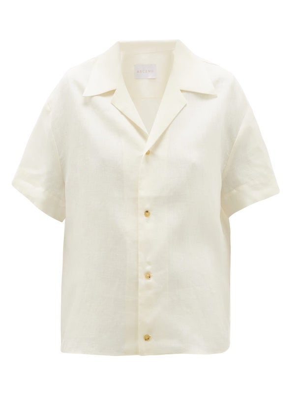 Cream short sleeve linen shirt