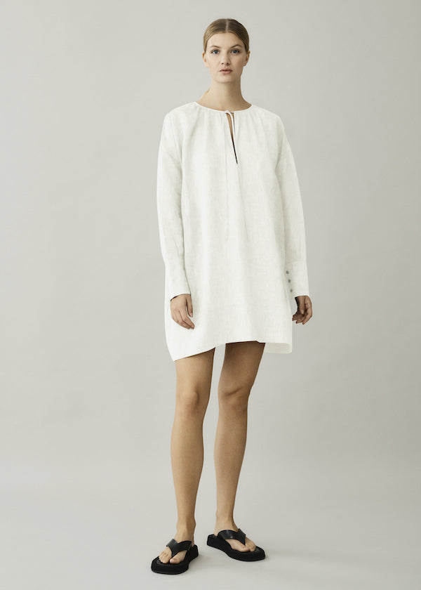 Cream short linen dress