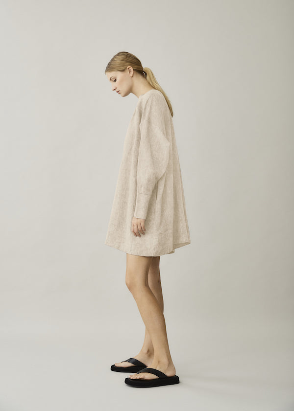 Natural Beige short linen dress