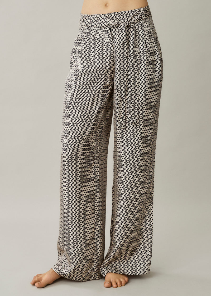 Rivello Cream Crescent Silk Twill Wide Leg Trouser