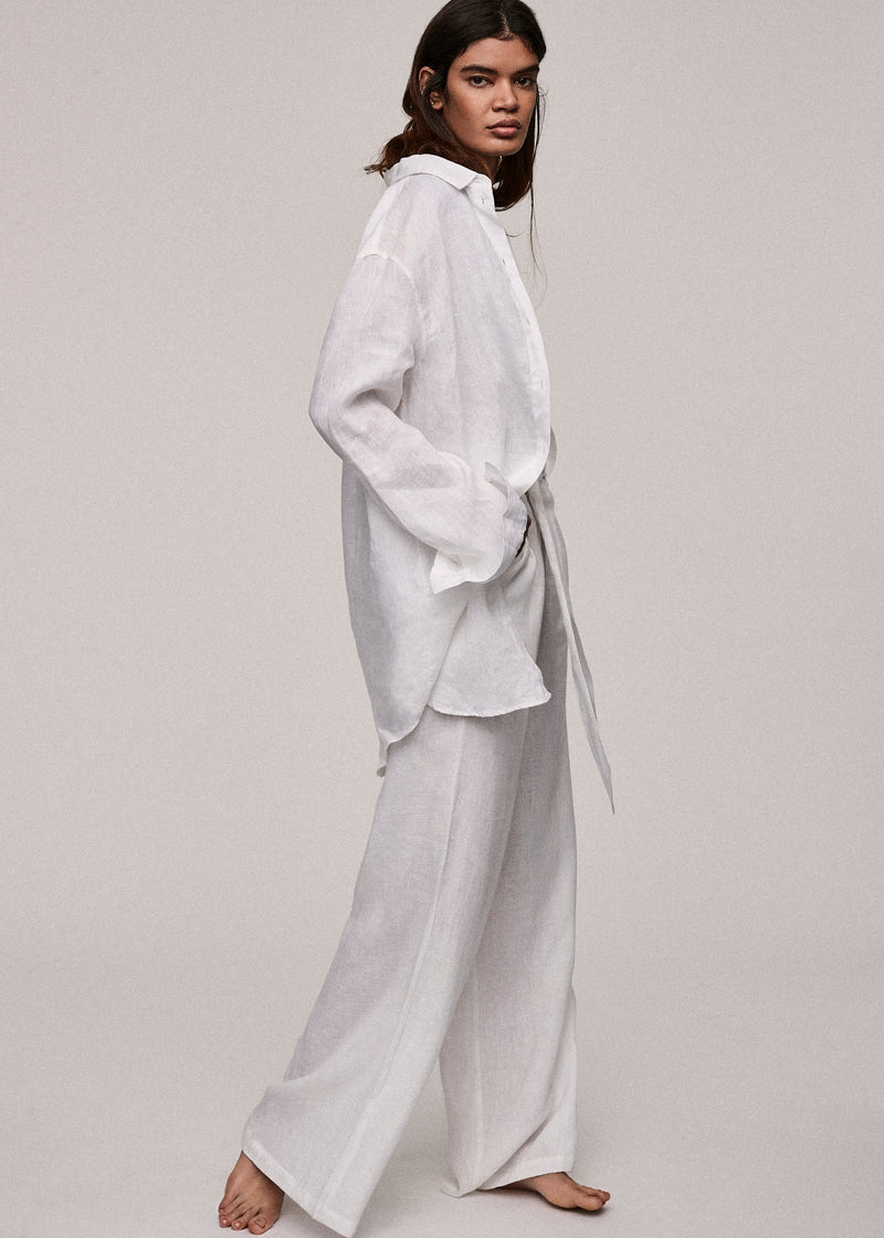 White Linen Wide Leg Trouser - Asceno London