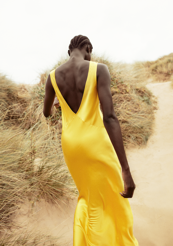 Yellow bias cut silk slip dress