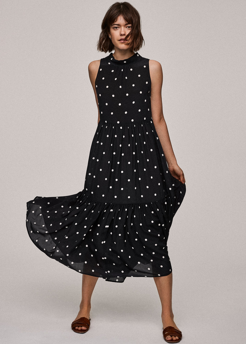 Jet Black Polka Silk Crepe Long Neck Tie Dress - ASCENO London