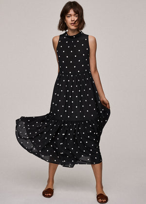 Jet Black Polka Silk Crepe Long Neck Tie Dress
