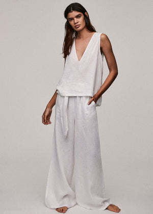 White Linen V Neck Top