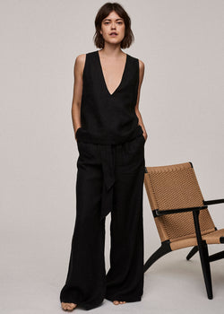 Jet Black Linen Wide Leg Trouser - Asceno London
