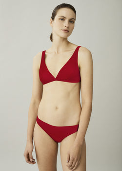 Red triangle bikini top with wide straps