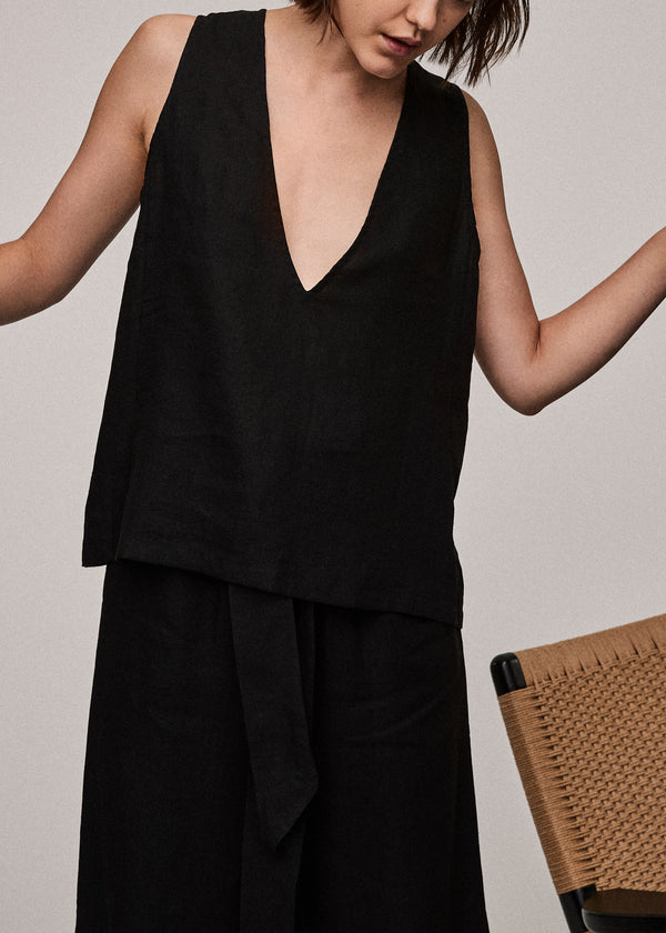 Jet Black Linen V Neck Top - Asceno London