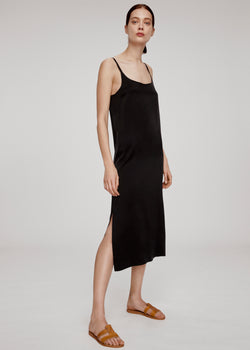 Jet Black Silk Long Slip Dress - Asceno London