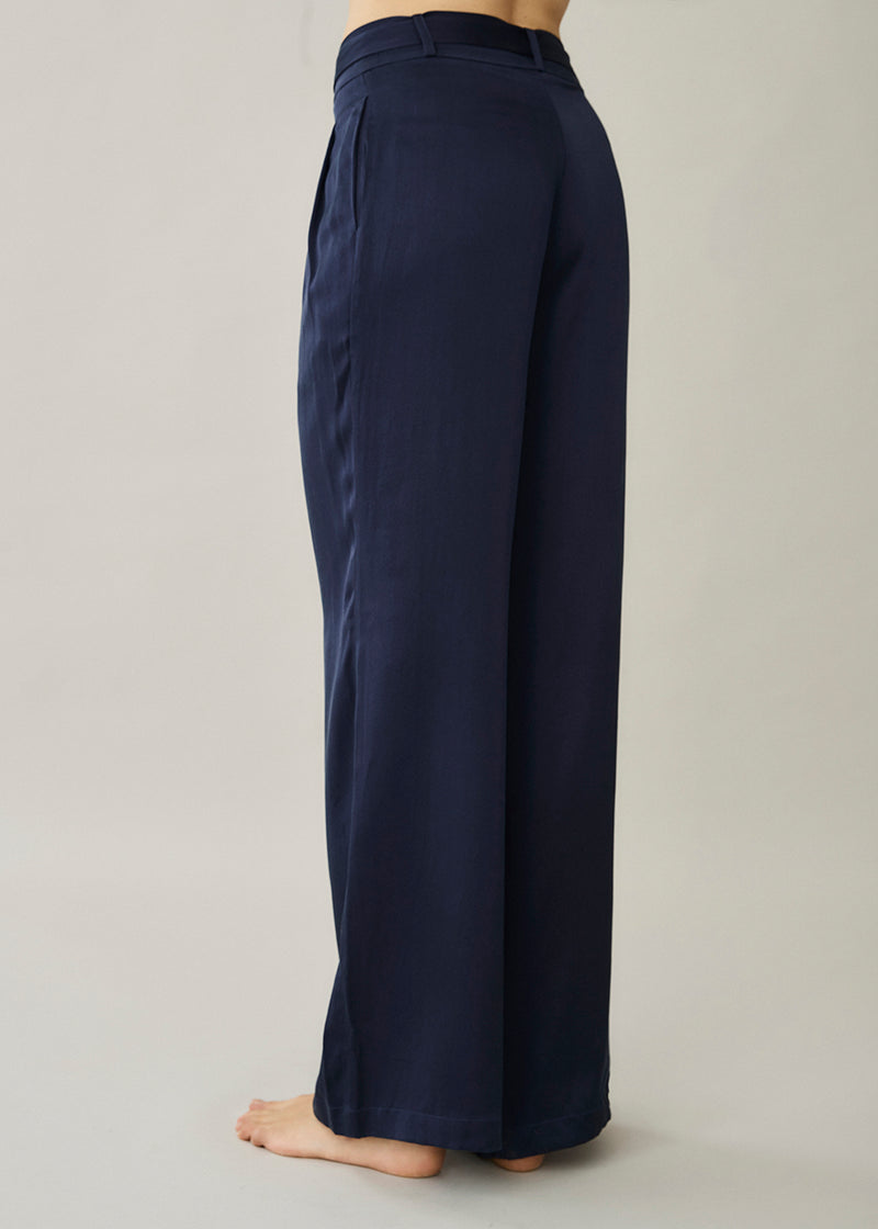 Rivello Navy Silk Wide Leg Trouser