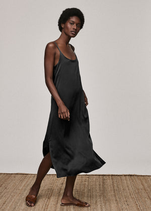 Jet Black Silk Long Slip Dress