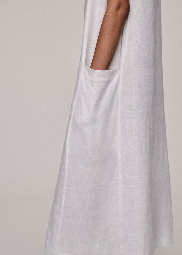 White Linen V Neck Dress - Asceno London