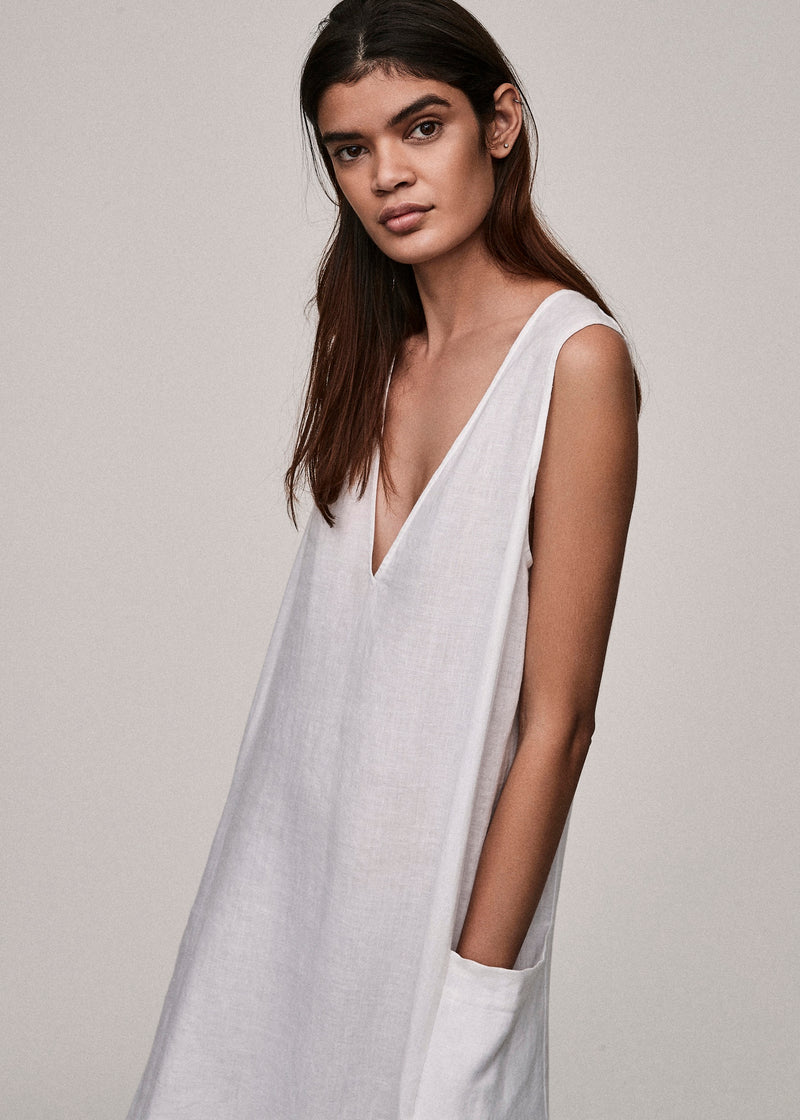 White Linen V Neck Dress