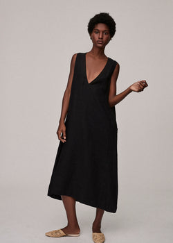 Jet Black Linen V Neck Dress