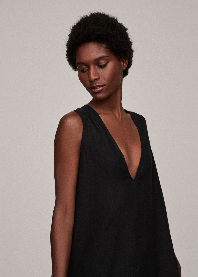 Jet Black Linen V Neck Dress - Asceno London